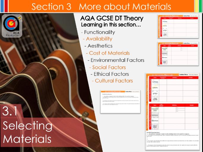 AQA GCSE DT 3.1 Selecting Materials