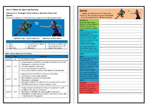 BTEC Sport (Level 2)- Unit 1 – Fitness Testing 1 Structure Strip (Long Answer Question)