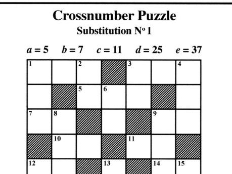 Substitution No1 (Crossnumber Puzzles)
