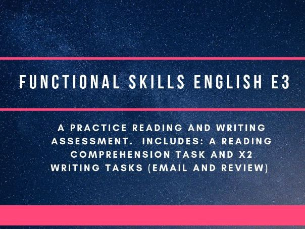 Functional Skills Entry 3 reading and writing