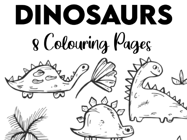 8 Dinosaurs Colouring Pages