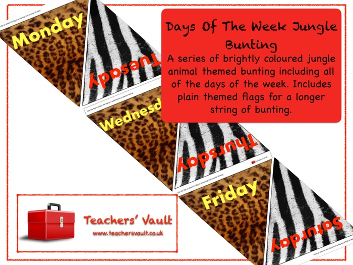 Days Of The Week Jungle Bunting