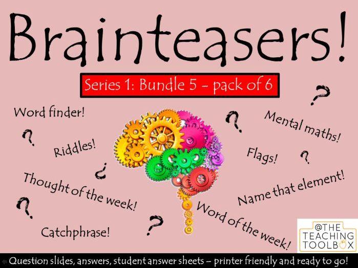 Brainteasers - Series 1 - Bundle 5 -  Form / Tutor Time Quiz Activity