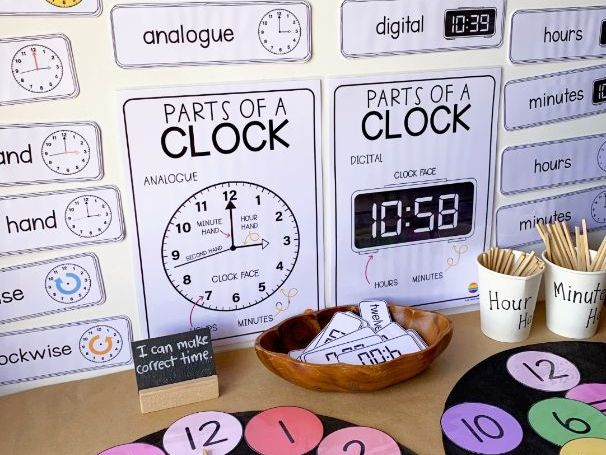 Telling Time Posters + Word Wall Pack