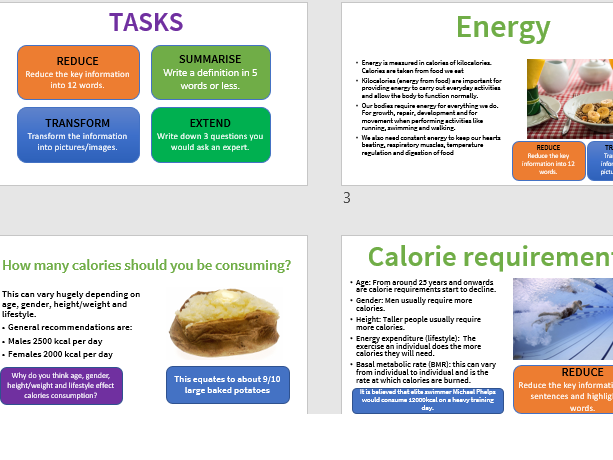 Energy, diet, nutrition and hydration GCSE PE