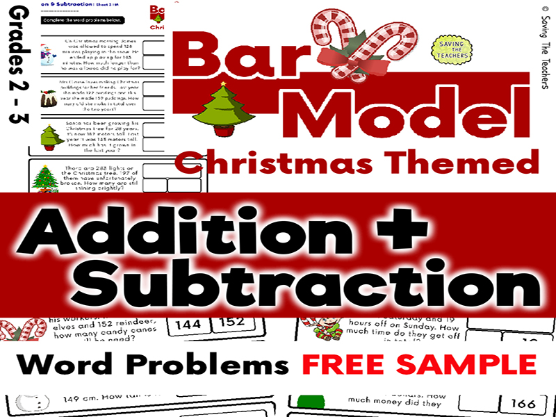 Free Sample: Christmas Addition & Subtraction Bar Model Word Problems Years 3 and 4
