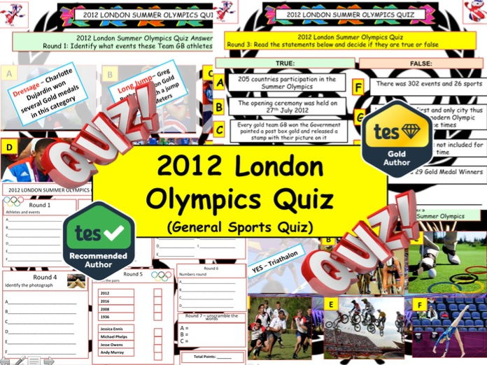 2012 - London Olympics Quiz  (Sports Quiz) - 7 rounds and 40+Qs' .Autumn Quiz End of term Quiz.