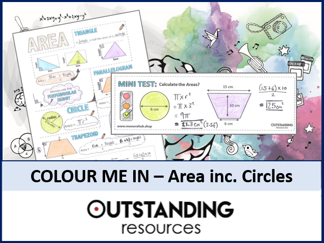 Colour Me In Sheets or Doodle Notes - Area including Circles