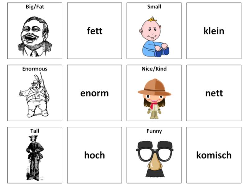 Describing People (Adjectives): German Vocabulary Card Sort