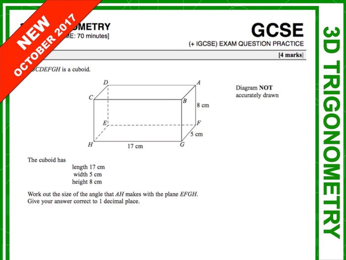 GCSE 9-1 Exam Question Practice (3D Pythagoras + Trigonometry)