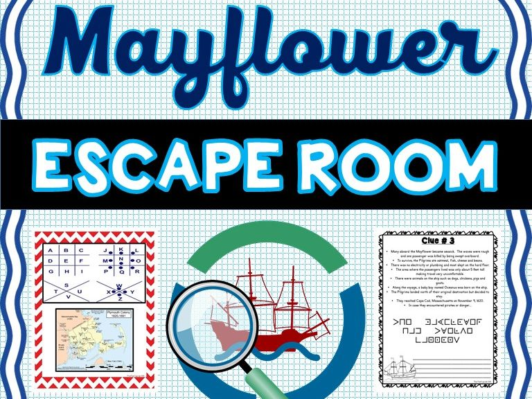 Mayflower Escape Room: Mayflower Compact, Pilgrim's Voyage, Print & Go!