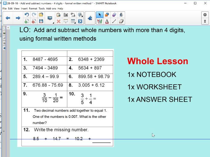 adding & subtracting 4 digits or more - addition - subtraction - KS2 ...