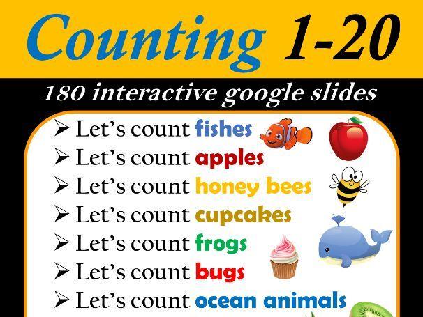 Number Counting Bundle (1 - 20)   Number Recognition - 185 Google Slides