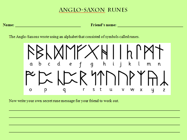 Anglo-Saxon Runes. This is just a fun activity that can be used to arise the students' interest.