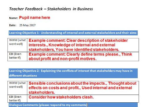 Stakeholders mini project and teacher marking/feedback