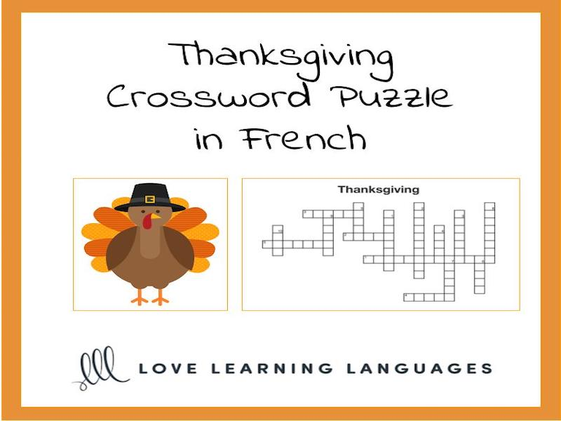 French Thanksgiving Crossword Puzzle