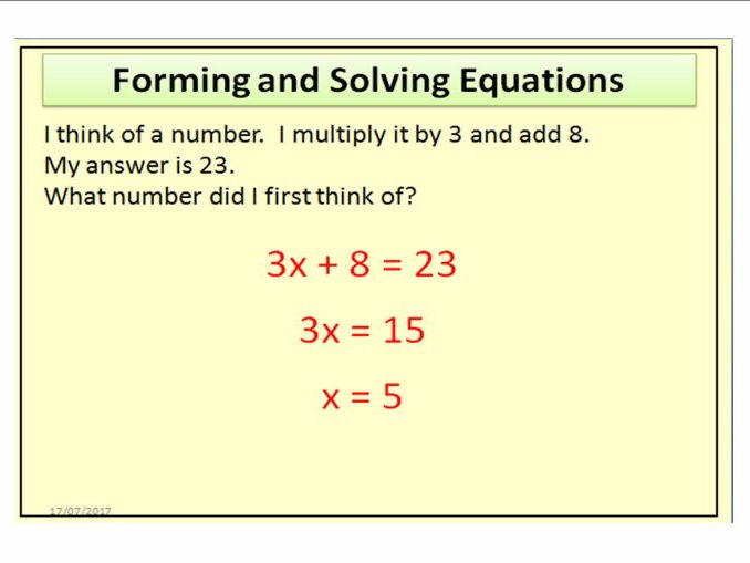 "Forming and Solving Equations - Worded Questions ""I think of a number"""