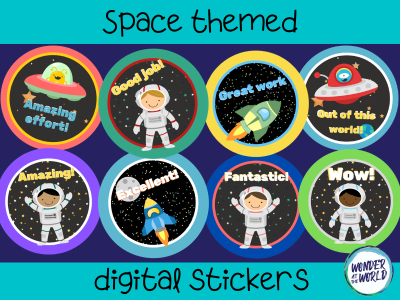 Space themed digital stickers for online and distance learning