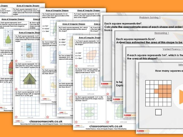 Year 5 Area of Irregular Shapes Autumn Block 5 Step 6 Lesson Pack