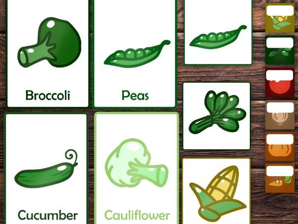 Vegetables topic - Vegetables flash cards,editable name labels and tags