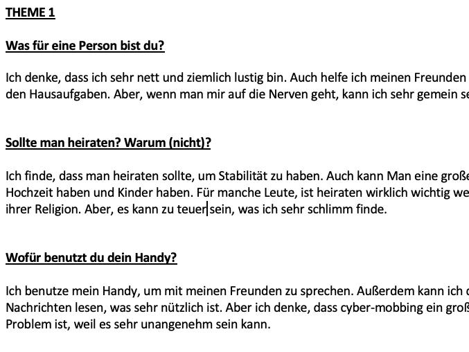 German GCSE (AQA) - Speaking Exam Revision