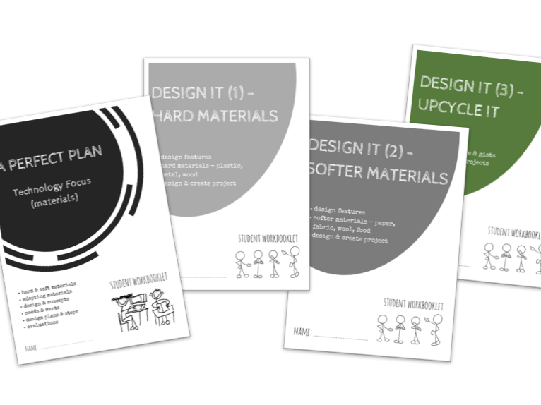 SPECIAL EDUCATION bundle - DESIGN IT - planning, projects, hard, soft materials & upcycling x4 workbooklets