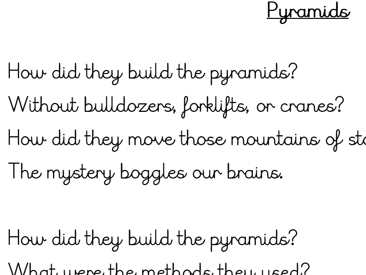 Egyptian Pyramid Poetry unit Of Work - Including Model Text