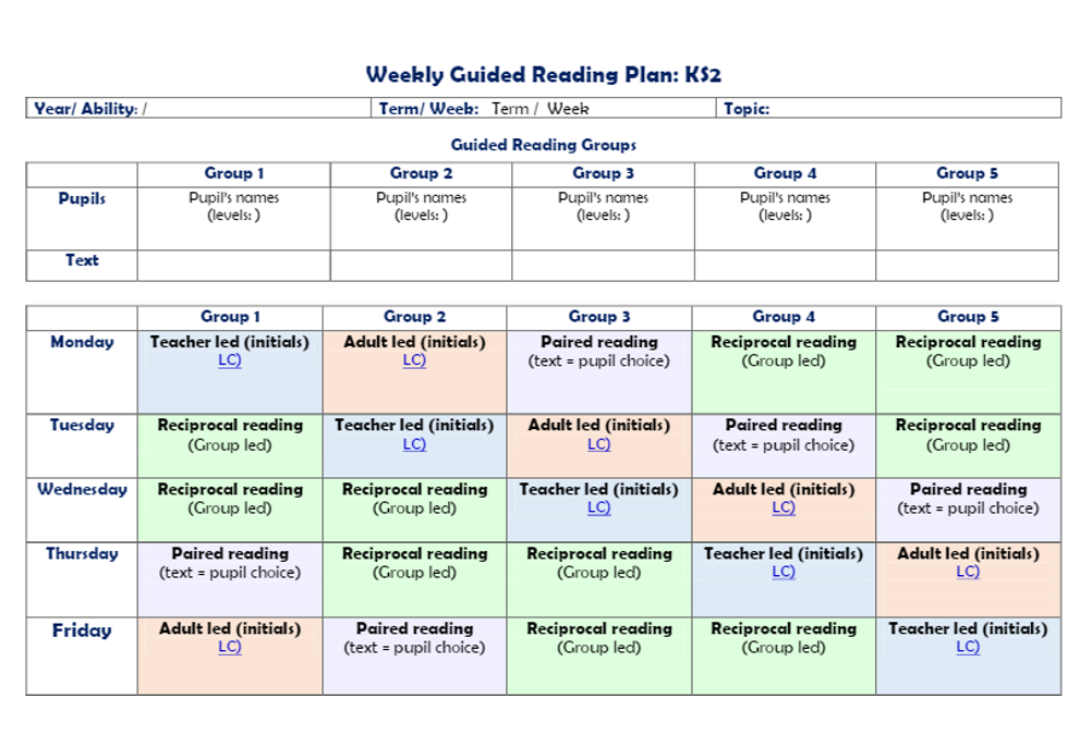 picture about Weekly Planning Sheets titled Blank weekly coming up with template for Guided Looking at
