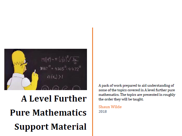 A level further pure mathematics support material
