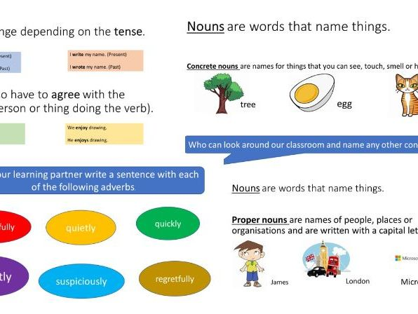 Word Types - Presentation and Worksheet - KS2 SATS SPAG - KS3/4 revision