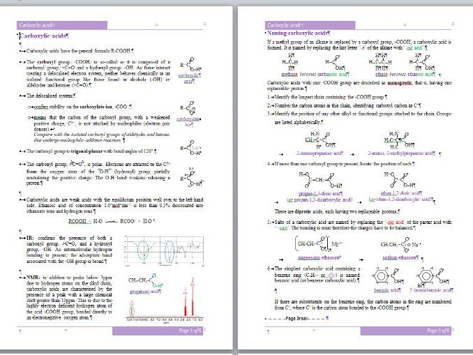 Carboxylic Acids Workbook - A-Level Chemistry