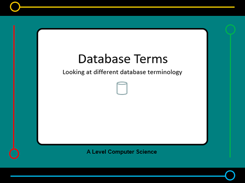 Presentation:   Database terminology (x11 slides) & worksheet