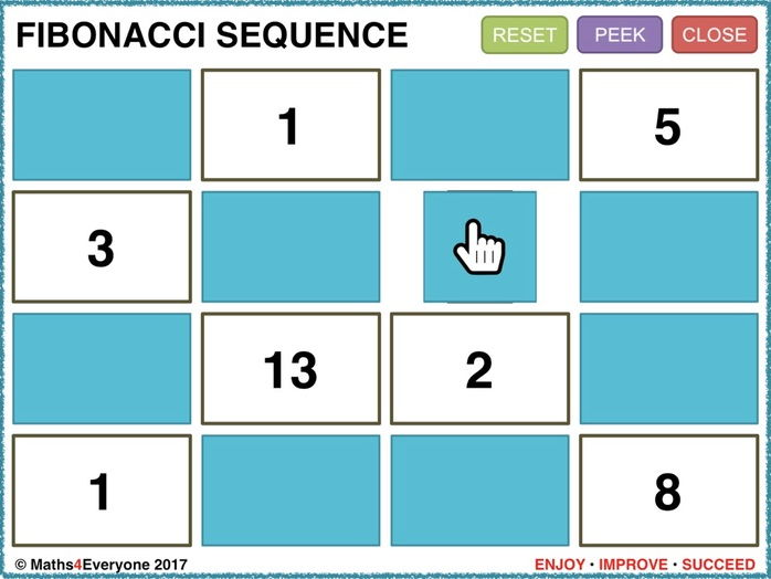 Fibonacci Sequence (Interactive PowerPoint Game)