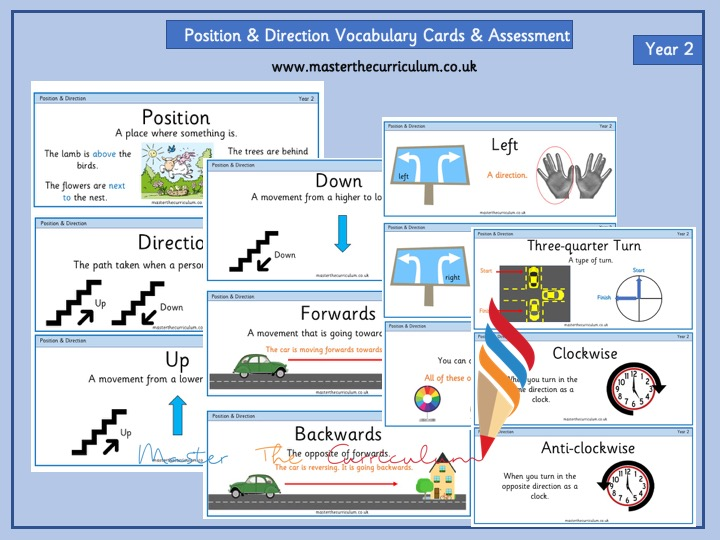Year 2- Position and Direction Vocabulary and Assessment - White Rose Style