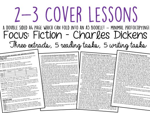 Cover Lessons: 3 Charles Dickens Extracts + Reading/Writing Activities