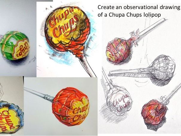 Create observational drawings of a lolipop (art activity suitable for home learning
