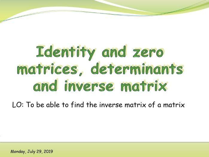 IB Applications and interpretations - Determinants and inverse matrices