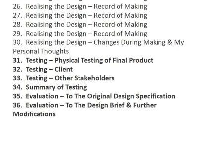 New Specification D&T Folder - Testing & Evaluating