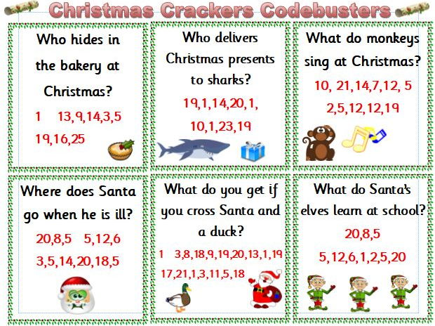 Christmas Cracker Jokes.Christmas Crackers Codebusters Ks1