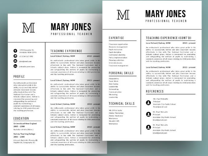Teacher resume template for MS PowerPoint (pptx), cover letter