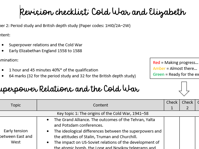 Revision checklist: Cold War and Elizabeth (GCSE Edecxel History Paper 2)