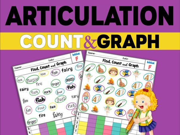 Articulation Activity; /F/ sound Worksheets Count and Graph