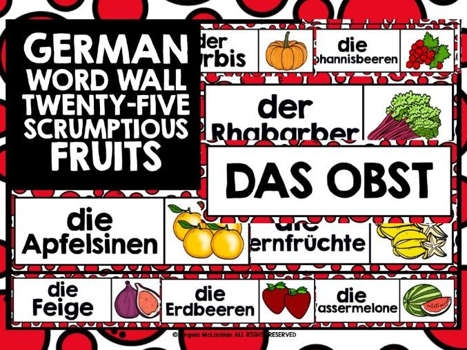 GERMAN FRUITS WORD WALL