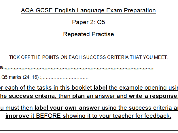 AQA GCSE English Language Paper 2 Booklets: Repeated Practise