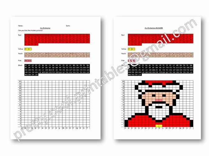 Maths: Hidden Picture Co-ordinates Activity: Christmas: Father Christmas Santa