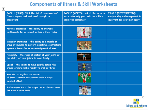 Components of fitness Worksheets - BTEC Sport Unit 1 level 2