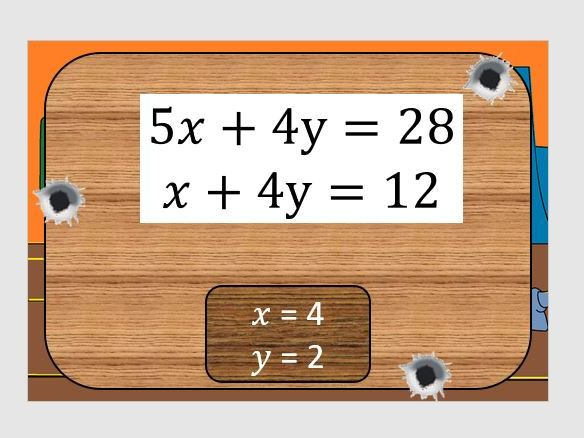 Shoot Out! - Simultaneous Equations - Elimination by Subtraction