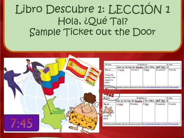 Spanish 1 (Descubre 1 L1): Beginner Spanish/Introductory chapters: Ticket out the door