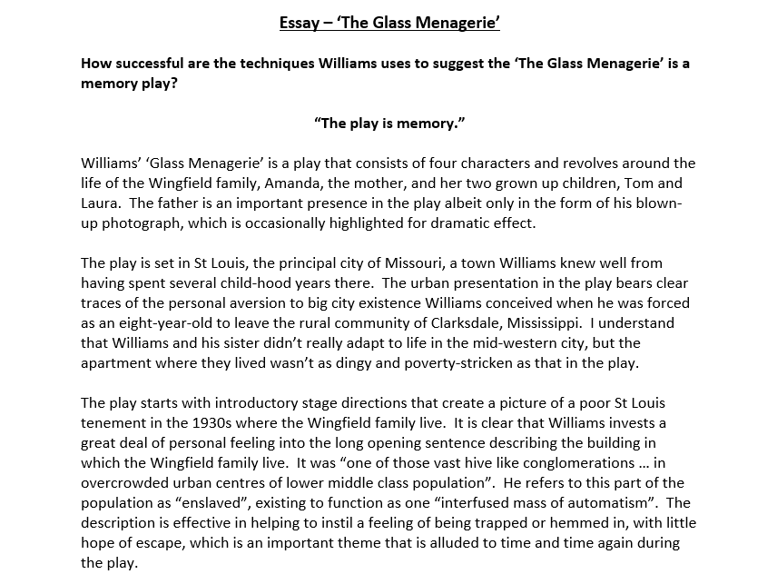 Critical Essay on The Glass Menagerie