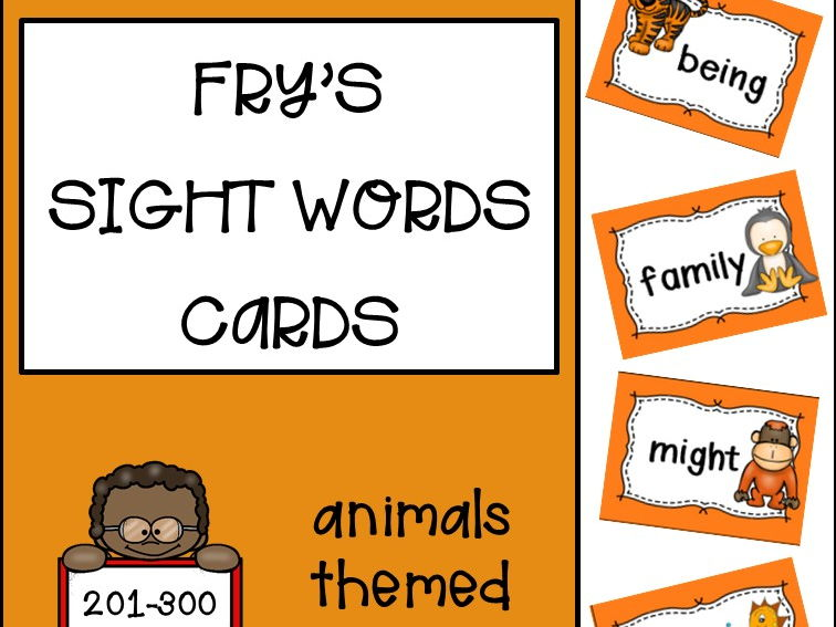 Fry's Sight Words Cards third hundred - Animals Themed